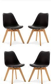 set aus 4 esszimmer stuhl stuhlbeine aus massiver buche stühle ohne arme gepolstertes design schwarz