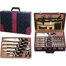 malette couteaux de cuisine professionnel malette couteaux 24 pièces simili cuir noir serie pro achat