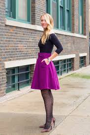 Purple Skater Skirt Off The Shoulder Top Polka Dot Tights Outfit Winter Work