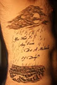 Cloud Moon Tattoos On Ribcage With Quote