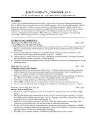 It Project Manager Resume Template Sample Format Senior Technical Examples Of Large Size