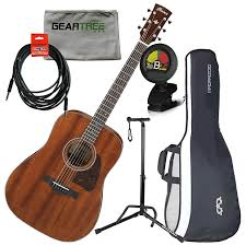Ibanez AVD9MHOPN Artwood Vintage Solid Thermo Aged Mahogany Top Acoustic Guitar W Cloth Stand Cable Tuner And Gig Bag