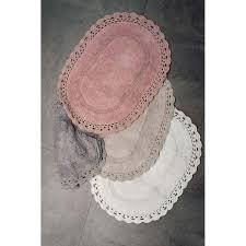 badteppich badematte häkelborte badvorleger oval rosa sand creme grau