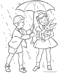Spring Rain Coloring Pages With Kids Boy Girl Also Rabbit Animal And Umbrella