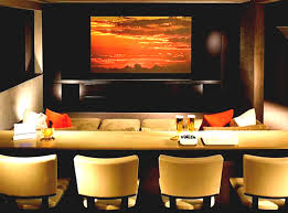 Music Theme Wall Poster Brown Paint Basement Home Theater Ideas Zebra Motif Leather Lounge Chair Room Decor Awesome