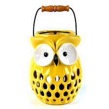 Owl Candle Lamp Ceramic Portable Candle Holder 20cm 8