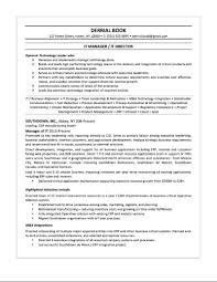 IT Manager Sample Resume Derrial Book