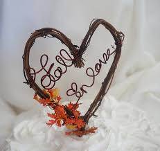 Rustic Vine Cake Topper Fall In Love Wedding Decor