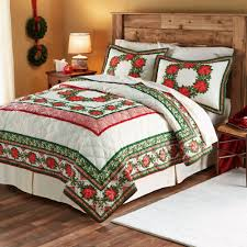 Mainstays Patio Set Red by Mainstays Poinsetta Printed Bedding Quilt Set Red Green Walmart Com