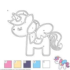 Unicorn With Wings Color By Number Coloring Pages