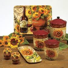 Kitchen Theme Decor Sets Themes Ideas Beautiful Sunflower Patterned Canisters Ceramic