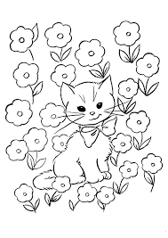 Coloring Page Kitten Pages To Print Kittens Plus In Flowers