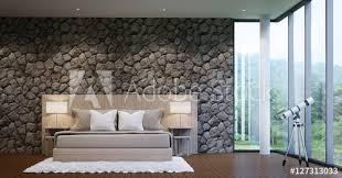 fototapete moderne luxus schlafzimmer schmücken wände mit natur stein grobe