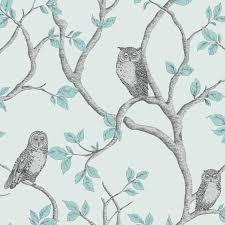 FINE DAfAfAAfAfAAACOR TEAL DUCK EGG WALLPAPER AfAfAAcAfAAAEURAfAAA SHABBY CHIC OWL PEACOCK SCROLL TREE