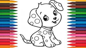 Drawing Puppy Learn How To Draw Dog Colors Picture Coloring Book Fun Painting Page