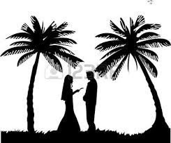 Illustration Of Wedding Couple Groom And Bride On Seacoast Between The Palms Vector Art Clipart Stock Vectors
