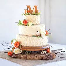 Floral Fall Wedding Cakes With Rose And Love Birds Naked Cake Country Rustic