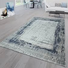 kurzflor teppich wohnzimmer bordüre blau grau