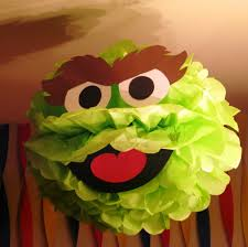 Oscar The Grouch Pumpkin Stencil Free by Green Monster Tissue Paper Pompom Kit Inspired By Oscar