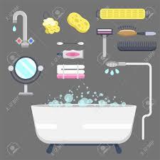 bad ausrüstung ikonen moderne dusche bunte illustration für badezimmer innenhygiene design