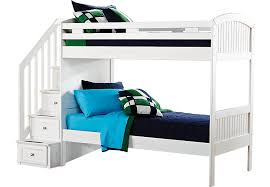 Cottage Colors White Twin Twin Step Bunk Bed Twin Beds White