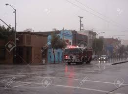 100 Fire Truck Sirens SFFD Races Down Fourth Street In The Rain With