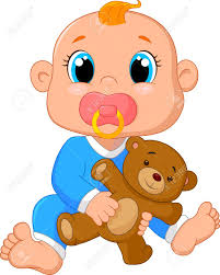 Baby Cartoon Holding A Teddy Bear Stock Vector