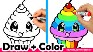Cartoon Colourful Drawing How To Draw A Rainbow Cupcake Cute Easy