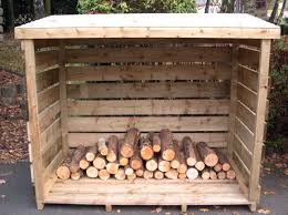 exterior wooden firewood outdoor storage shed with roof and door