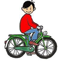 Boy Riding Green Bike