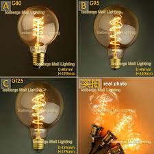 vintage edison incandescent light bulb g80 g95 g125 e27 40w 60w