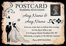 Black White Vintage Rustic Postcard Personalised Wedding