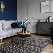 mynes home kurzflor teppich grau modern design wohnzimmer gestreift anthrazit jugendzimmer 160 x 220 cm