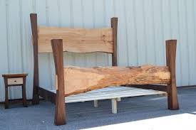 Hand Crafted Live Edge Maple King Size Bed With Walnut Posts And