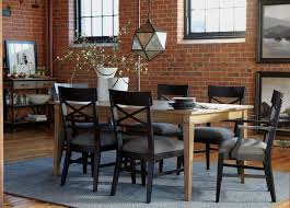 Ethan Allen Chairs Dining In Black With Wooden Table Also Chandelier