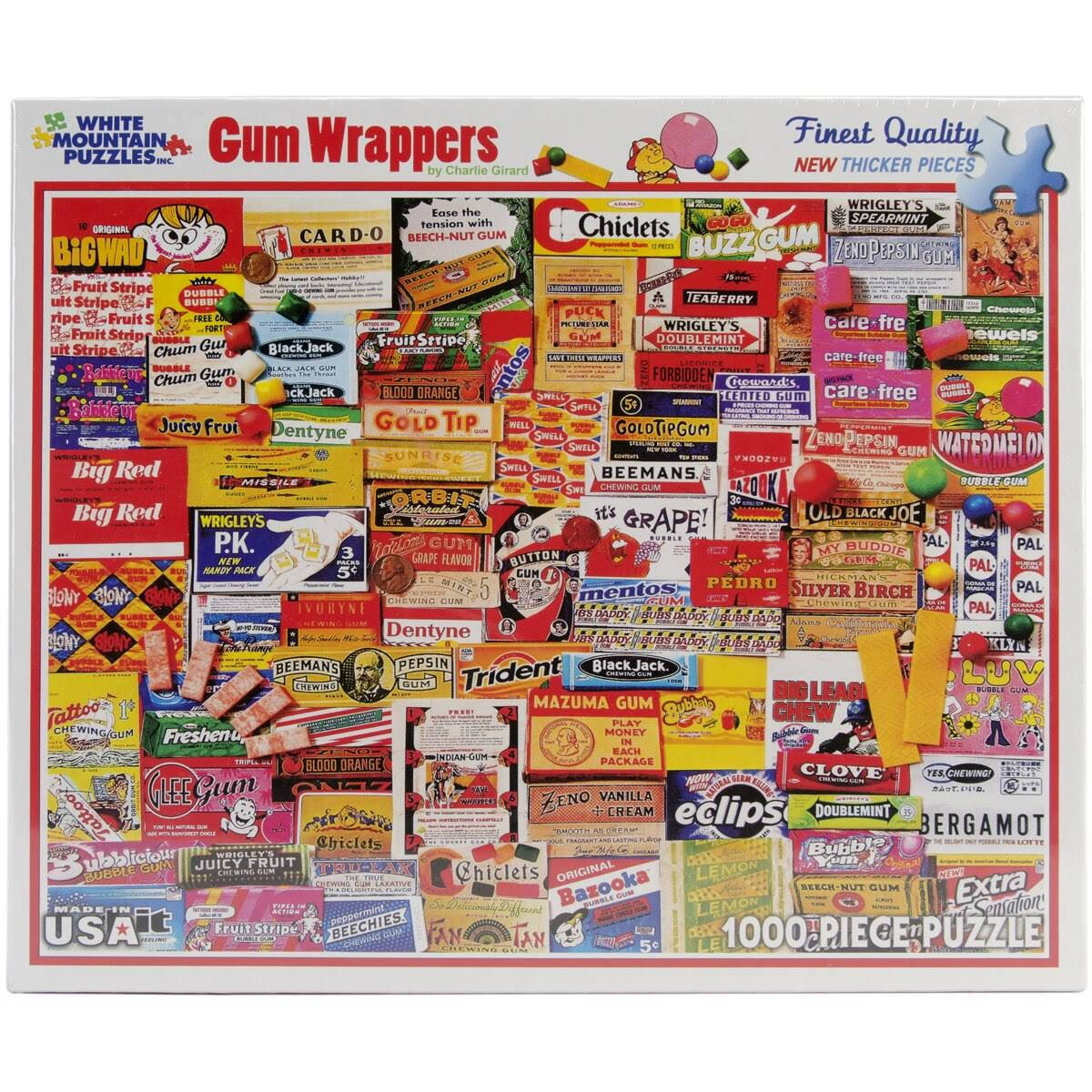 White Mountain Puzzles Jigsaw Puzzle - Gum Wrappers, 1000pcs