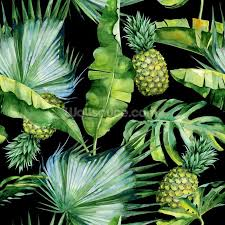 Palm Leaf Jungle Wallpaper With Pineapple Print Wall Mural Photo