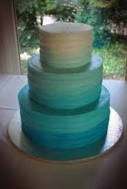 Rustic Ombre Teal Wedding Cake