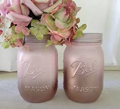 Set Of 2 Rose Gold And Blush Pink Painted Mason Jars Centerpieces Baby Shower