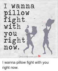 I Wanna Pillow Fight Witn You Right Now LikeLoveQuotes I Wanna