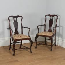 Antique English Pair Of Queen Anne Style Mahogany Crook Armchairs ... Antique Walnut Chairs Queen Anne 7 Ding Scotland Style Wing Chair Frame English Pair Of Mahogany Crook Armchairs Century Rocking For Master Small Armless Bean Seat Replacement And Painted Finish Style Carver Chair Dark Blue Shabby Chic Rustic Fniture Room Design What Is How Do You Spot It Splat Back W Cream Loveseat Edwardian Mahogany Desk Hingstons Antiques Dealers Legs Set Desk
