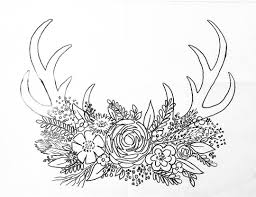 Free Printable Coloring Sheet DEER ANTLER Traceable Angelafineart