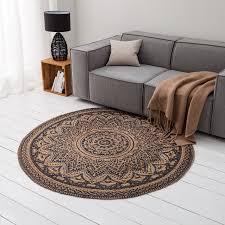 home24 top square jute teppich svaneke braun rund ø 150 cm modern