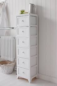 Free Standing Storage Cabinets For Bathrooms by Maine Narrow Tall Freestanding Bathroom Cabinet With 6 Drawers For