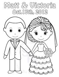 Personalized Printable Bride Groom Wedding Party Favor Childrens Kids Coloring Page Activity PDF Or JPEG File