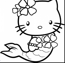 Extraordinary Hello Kitty Mermaid Coloring Pages To Print With Color And