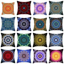 24x24 Throw Pillow Hippie Mandala Cushion Cover Polyester Bohemian Geometric Home Decorative Pillows
