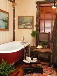 Example Of A Large Mountain Style Master Medium Tone Wood Floor Claw Foot Bathtub Design
