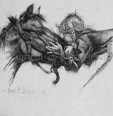 Unconditional Love Romantic Little Girl Kissing Her Horse Pencil Drawing By Western Artist Virgil