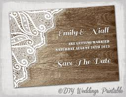 Rustic Save The Date Template Printable DIY Wood Lace Dates Wedding Cards Word YOU EDIT Templates Download